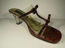 Vintage Vinca Rose Women's Vinyl Slides with Leopard Detailing, Pearls in Heel