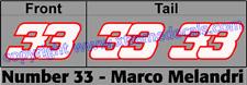 Marco Melandri Race Number Set 3 decals No 33