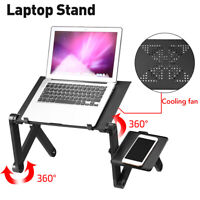360° Adjustable Laptop Stand Desk Cooling Fan Foldable Notebook Table Bed Tray