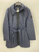 DKNY Womens  Navy Blue Quilted Winter Jacket Zipper Extra Large XL