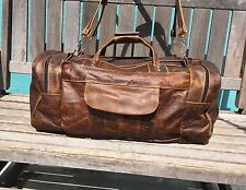 Authentic 100%leather handmade Crazy Horse Brown Travel/gym men's duffle bag