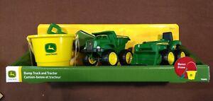 John Deere Sandbox/Beach Toys- 4 pc. Set Dump trk, Tractor, Bucket, Shovel NIB