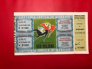 Loterie Ri De Merano 1956 L.500 Premio 100 Millions Avec Service