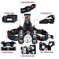 Super-bright 90000LM 5 Head XM-L T6 LED Headlamp Headlight Flashlight Head Torch