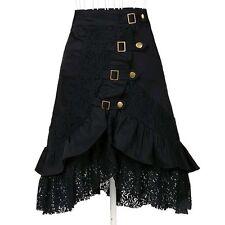 Gothic Steampunk Renaissance Victorian Vintage Black Lace Skirt Costume S-2XL