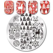 Born Pretty Nail Stamping Plates Christmas Tree Jingle Bell Deer Image
