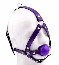 DELUXE Purple Leather Ballgag harness ball gag by Mercy Industries ga15PplPpl