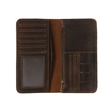 RFID Block Vintage Men Real Leather Long Clutch Wallet Card Photo Holder Purse