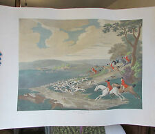 ANCIENNE GRAVURE RECTO/VERSO CHASSE A COURRE HUNTING PLATE II / 75.5CM X 55CM