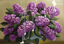 Antique oil painting still life with lilac flowers