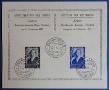 Belgique, n°456, 457 oblitérés premier jour sur carte souvenir, Concours musique