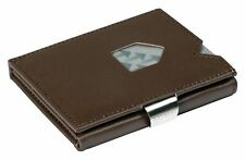EXENTRI Trifold Wallets w/RFID in Brown - Premium Leather with Stainless Steel