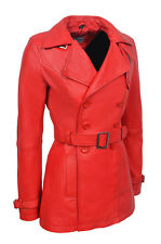 New Ladies Samantha Fashion Casual Style Red Nappa Leather Trench Coat Jacket