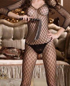 Sexy Black Crotchless 3/4 Sleeve Fishnet Fetish BodyStocking Size 10-12 W14