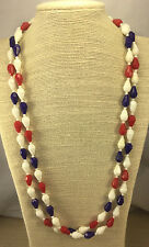 Vintage Necklace Hong Kong Plastic Patriotic Faceted red White Blue Bead Flapper