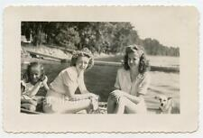 Pretty Girls and Dog In A Boat Dreamy 1940s Photo FORT WAYNE IN Indiana