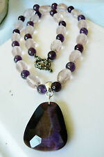 """Purple cat eye pendant crystal amethyst beads toggle clasp strand necklace 18.5"""""""