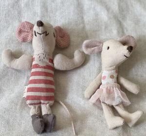 Maileg Circus Strongman Mouse & Circus Ballerina/girl, Retired, Discontinued