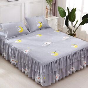 Bedding Flower Print Single Layer Bed Skirt Flat Sheet Bedspread Pillowcase New