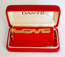 VINTAGE MENS JEWELRY GOLD TIE CLIP TACK LOVE by DANTE NEW IN BOX
