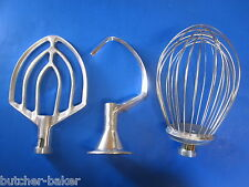 3 Pc Set 12 Quart Bakery Mixer Dough Hook Wire Whip & Beater for Hobart A120 125
