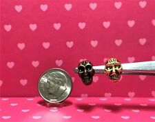 Dollhouse Miniature Halloween Skull Beads - Metal - 2 Per Set - Can be Any Scale