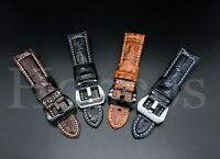 24MM Black Leather Alligator Watch Band Strap Buckle Fits for Panerai Vintage