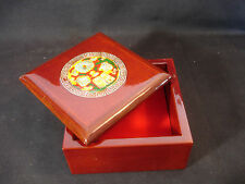 Wood Wooden Trinket Jewelry Box Red Felt Inside Decorative Top Shine Finish