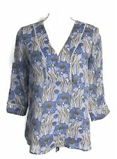 Massimo Dutti Top Blue Floral 3/4 Sleeve V Neck Blouse Womens Size 4