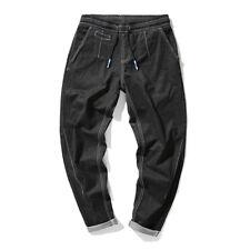 Plus Size L-7XL Mens Cuffed Chinos Jeans Slim Fit Denim Joggers Trousers Pants