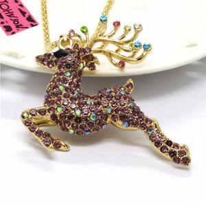 Hot Betsey Johnso Purple Bling Cute Elk Deer Crystal Pendant Women Necklace