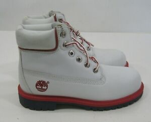 14762 TIMBERLAND 6 INCH PREMIUM white/red lace up  YOUTH size 1.5