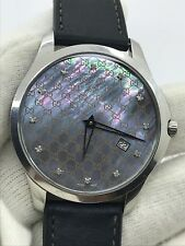GUCCI G TIMELESS 126.3 QUARTW MENS  40mm S/S DIAMONDS MOTHER PEARL DIAL SWISS