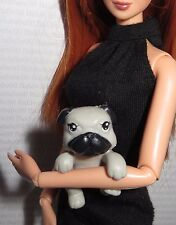 ACCESSORY PET ~ MATTEL BARBIE DOLL GRAY & BLACK PUPPY DOG MINIATURE FOR DIORAMA