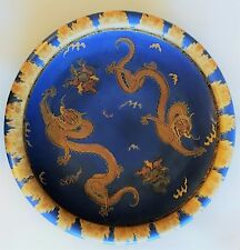 Antique Carlton Ware Vase Plate Try Signed Awesome Blue Gold Paint Dragons