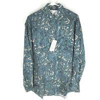GOOUCH Men's S Long Sleeve Shirt Silk Button-Up 90s Abstract Art Blue NWT VTG