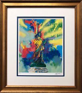 """LeRoy Neiman """"Lady Liberty""""  CUSTOM FRAMED ART Statue of Liberty Freedom NY"""