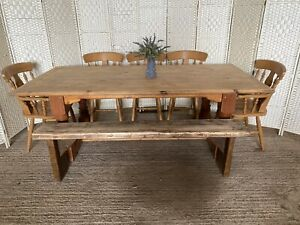 Large Chunky Vintage Farmhouse Dining Table 5 Chairs And Bench Extra Wide 7ft