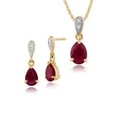 Gemondo 9ct Oro Amarillo Rubí Y Diamante Pera Pendientes & 45cm Necklace set