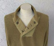 ORVIS Mens Shawl Collar Mechanics Sweater Large 100% Cotton Lt. Brown Khaki