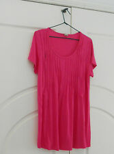 Bright pink pleated maternity top Size 12 short sleeves sides zips for feeding