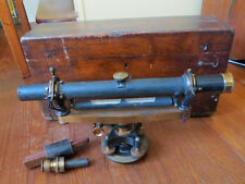 ANTIQUE BUFF & BUFF SURVEY TRANSIT with WOODEN CARRY CASE