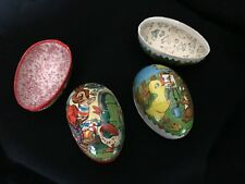 2 Vintage Paper Mache Easter Egg Candy Containers - West Germany