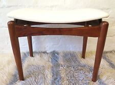 Vintage Hans Hayson Rosewood Timber & Vinyl Top Footstool MCM Danish 60s Retro