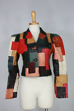 Vintage Gandalf leather jacket S east west patchwork 70s fitted handmade cropped