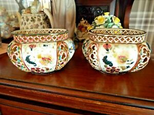 PAIR OF OLD ZSOLNAY PECS RETICULATED POTTERY VASES.GREAT CONDITION