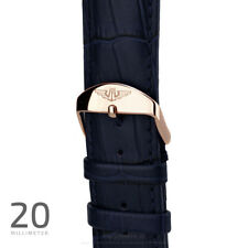 Wrist Watch Band Rose Gold 20mm Polished Lock, Dark Blue Leather Croco Rose Gold