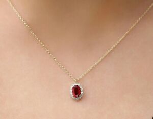 """2.10 Ct Oval Cut Red Ruby Halo Pendant W/18"""" 14k Yellow Gold Over Women's"""