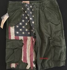 Ralph Lauren Denim & Supply Military Cargo Green USA Flag Shorts 27 Waist NWT