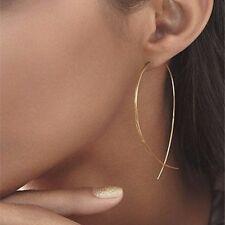 Minimalist Earring Gold Simple Beautiful Drop Hoop Long Dangle